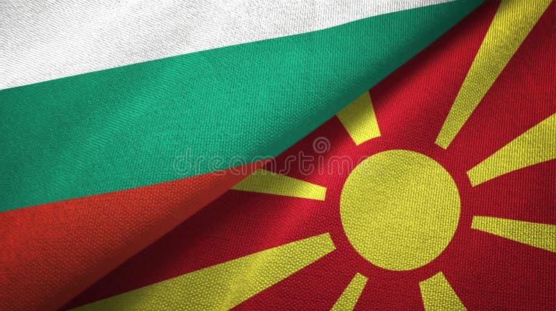 Bułgaria i Macedonia dwa flagi tekstylny płótno, tkaniny tekstura royalty ilustracja