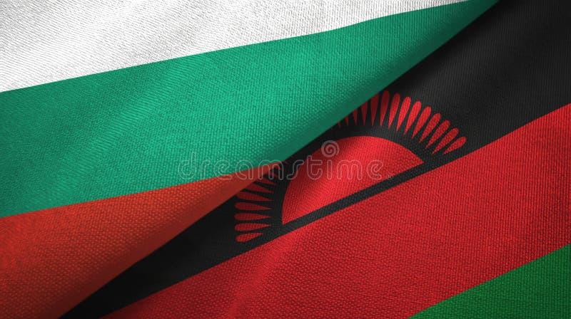 Bułgaria i Malawi dwa flagi tekstylny płótno, tkaniny tekstura royalty ilustracja