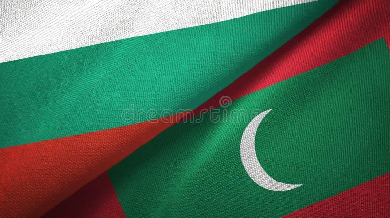 Bułgaria i Maldives dwa flagi tekstylny płótno, tkaniny tekstura ilustracja wektor
