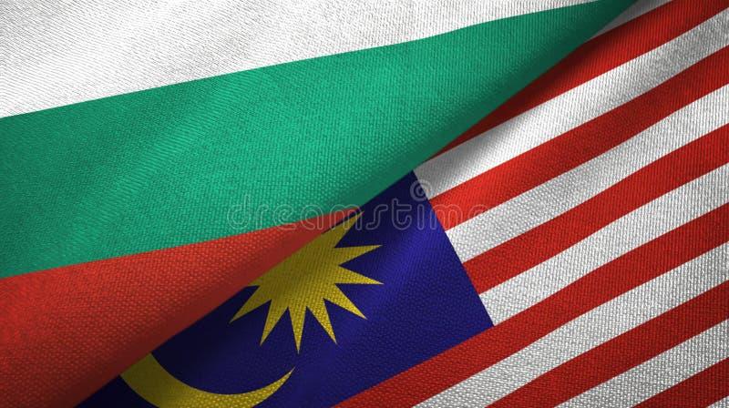 Bułgaria i Malezja dwa flagi tekstylny płótno, tkaniny tekstura ilustracja wektor