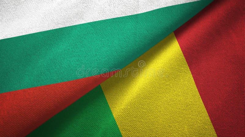 Bułgaria i Mali dwa flagi tekstylny płótno, tkaniny tekstura ilustracji