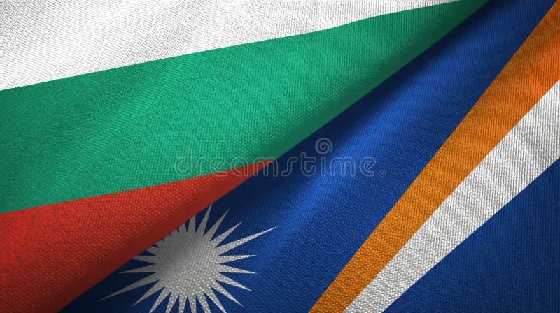 Bułgaria i Marshall wyspy dwa flagi tekstylny płótno, tkaniny tekstura ilustracja wektor