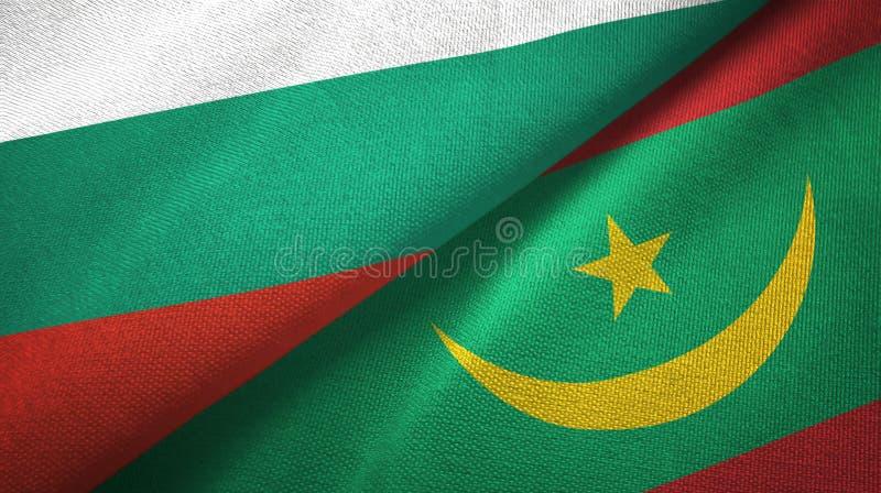 Bułgaria i Mauretania dwa flagi tekstylny płótno, tkaniny tekstura royalty ilustracja