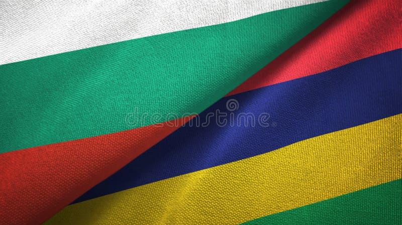Bułgaria i Mauritius dwa flagi tekstylny płótno, tkaniny tekstura ilustracji
