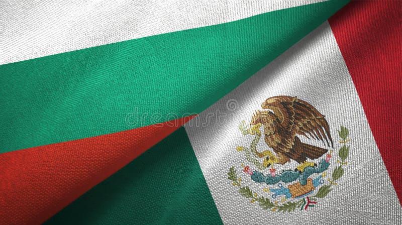 Bułgaria i Meksyk dwa flagi tekstylny płótno, tkaniny tekstura ilustracji