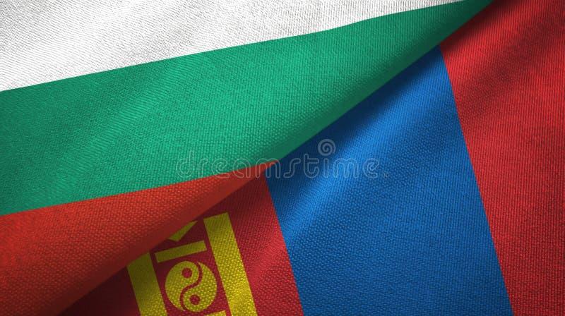 Bułgaria i Mongolia dwa flagi tekstylny płótno, tkaniny tekstura ilustracja wektor