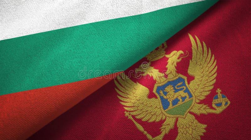 Bułgaria i Montenegro dwa flagi tekstylny płótno, tkaniny tekstura ilustracji