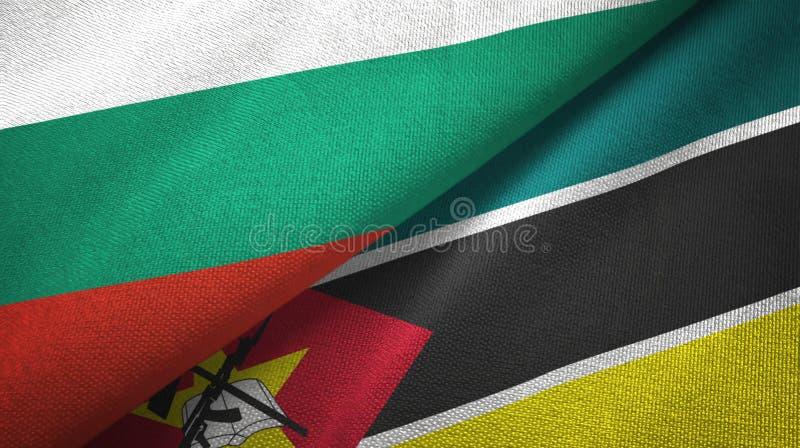 Bułgaria i Mozambik dwa flagi tekstylny płótno, tkaniny tekstura royalty ilustracja