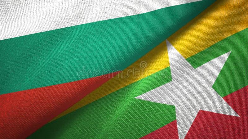 Bułgaria i Myanmar dwa flagi tekstylny płótno, tkaniny tekstura ilustracji