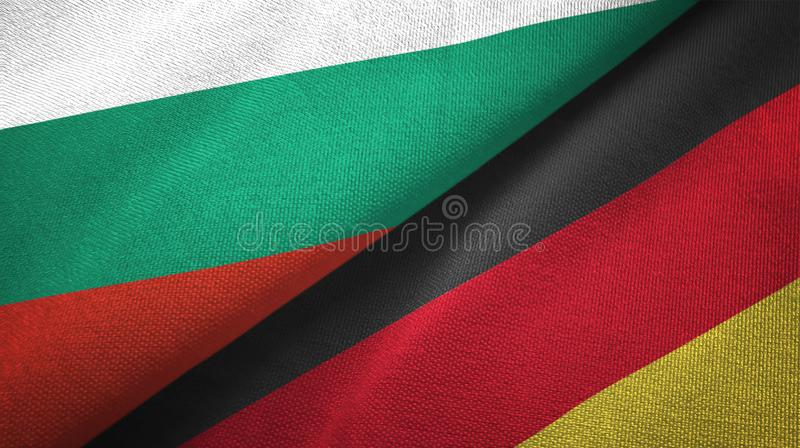 Bułgaria i Niemcy dwa flagi tekstylny płótno, tkaniny tekstura ilustracji
