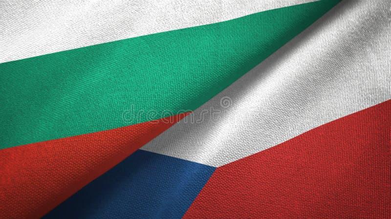 Bułgaria i republika czech dwa flagi tekstylny płótno, tkaniny tekstura ilustracja wektor
