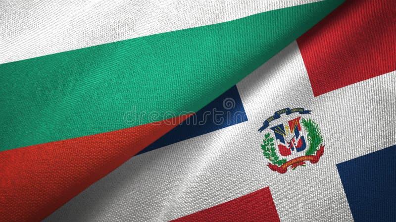 Bułgaria i republiki dominikańskiej dwa flagi tekstylny płótno, tkaniny tekstura ilustracji