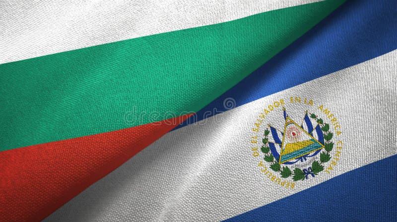 Bułgaria i Salwador dwa flagi tekstylny płótno, tkaniny tekstura ilustracji