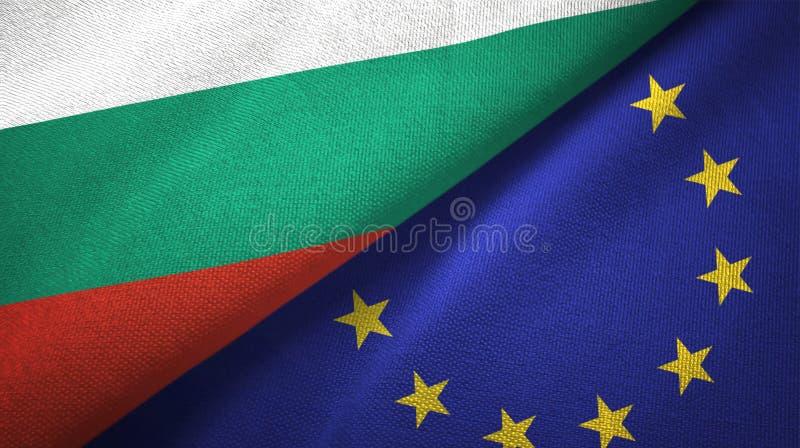 Bułgaria i unii europejskiej dwa flagi tekstylny płótno, tkaniny tekstura ilustracja wektor