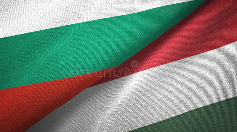 Bułgaria i Węgry dwa flagi tekstylny płótno, tkaniny tekstura royalty ilustracja