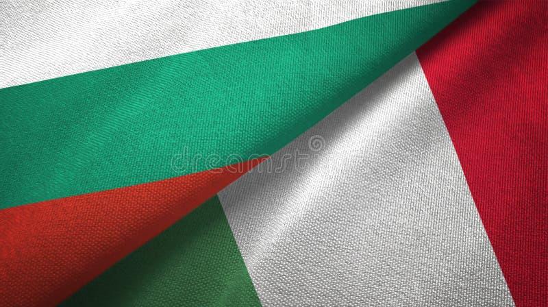 Bułgaria i Włochy dwa flagi tekstylny płótno, tkaniny tekstura ilustracji
