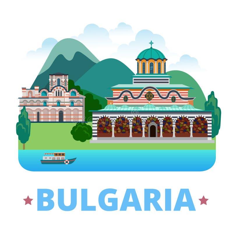 Bułgaria kraju projekta szablon Mieszkania stylowy vecto ilustracja wektor