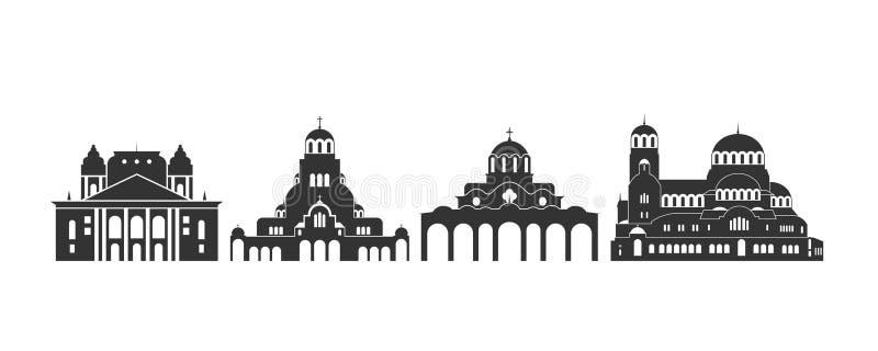 Bułgaria logo Odosobniona Bułgarska architektura na białym tle royalty ilustracja