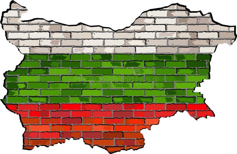 Bułgaria mapa na ściana z cegieł royalty ilustracja