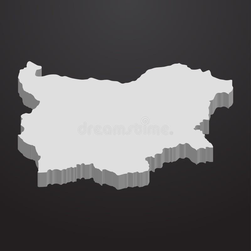 Bułgaria mapa w szarość na czarnym tle 3d ilustracji