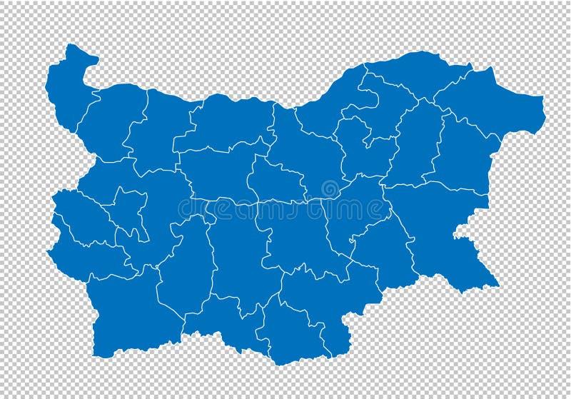 Bułgaria mapa - wysokość wyszczególniał błękitną mapę z okręgami administracyjnymi, regionami, stanami Bulgaria/ bulgaria mapa od ilustracja wektor