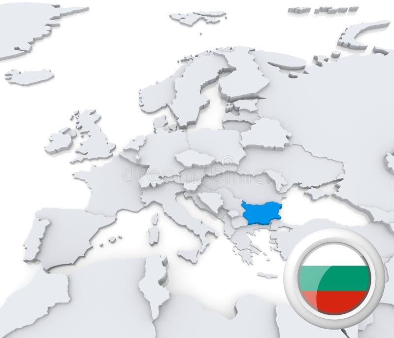 Bułgaria na mapie Europa royalty ilustracja