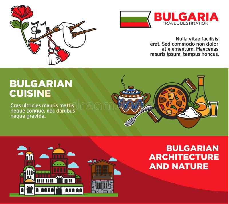 Bułgaria podróży miejsca przeznaczenia promocyjni plakaty z autentyczną architekturą i naturą ilustracji