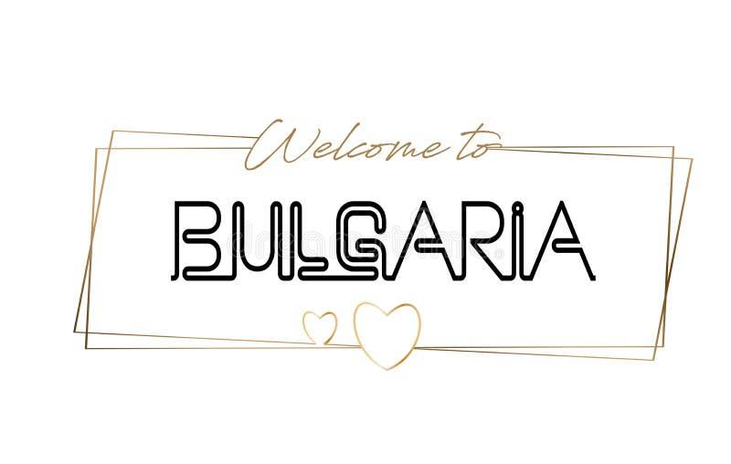 Bułgaria powitanie teksta literowania Neonowa typografia Słowo dla logotypu, odznaka, ikona, pocztówka, logo, sztandaru wektoru i royalty ilustracja