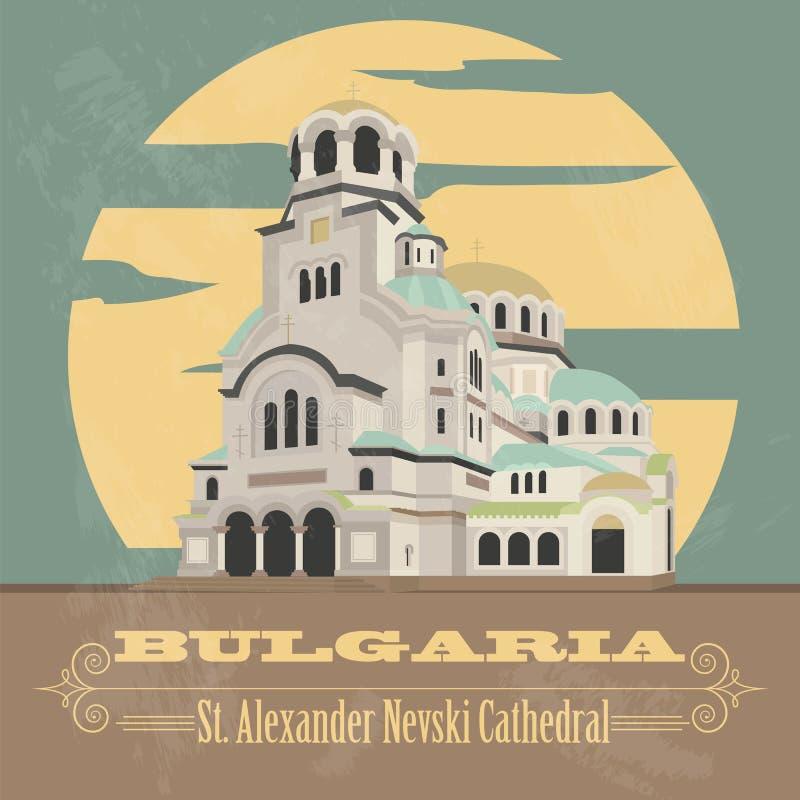 Bułgaria punkty zwrotni Retro projektujący wizerunek ilustracji