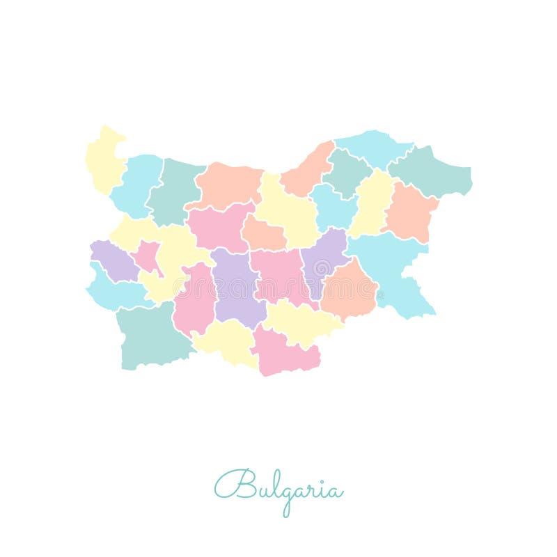 Bułgaria regionu mapa: kolorowy z białym konturem ilustracji
