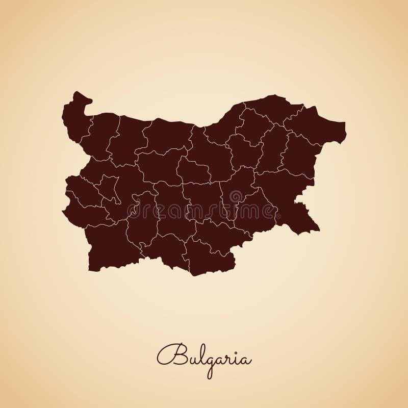 Bułgaria regionu mapa: retro stylowy brown kontur dalej ilustracja wektor