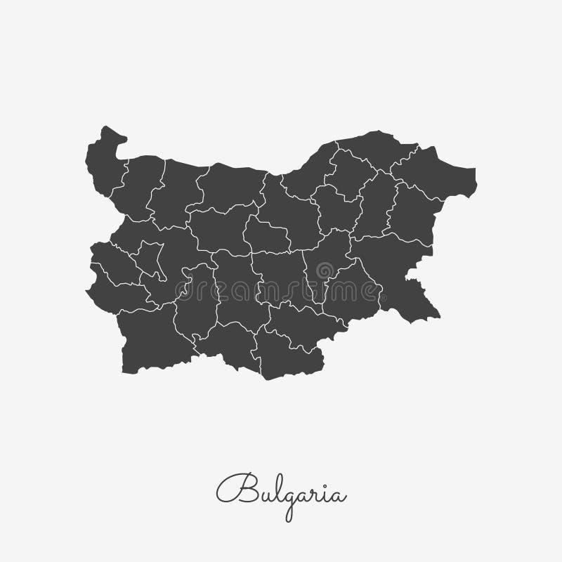 Bułgaria regionu mapa: siwieje kontur na bielu ilustracja wektor
