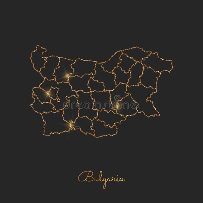 Bułgaria regionu mapa: złoty błyskotliwość kontur z ilustracja wektor