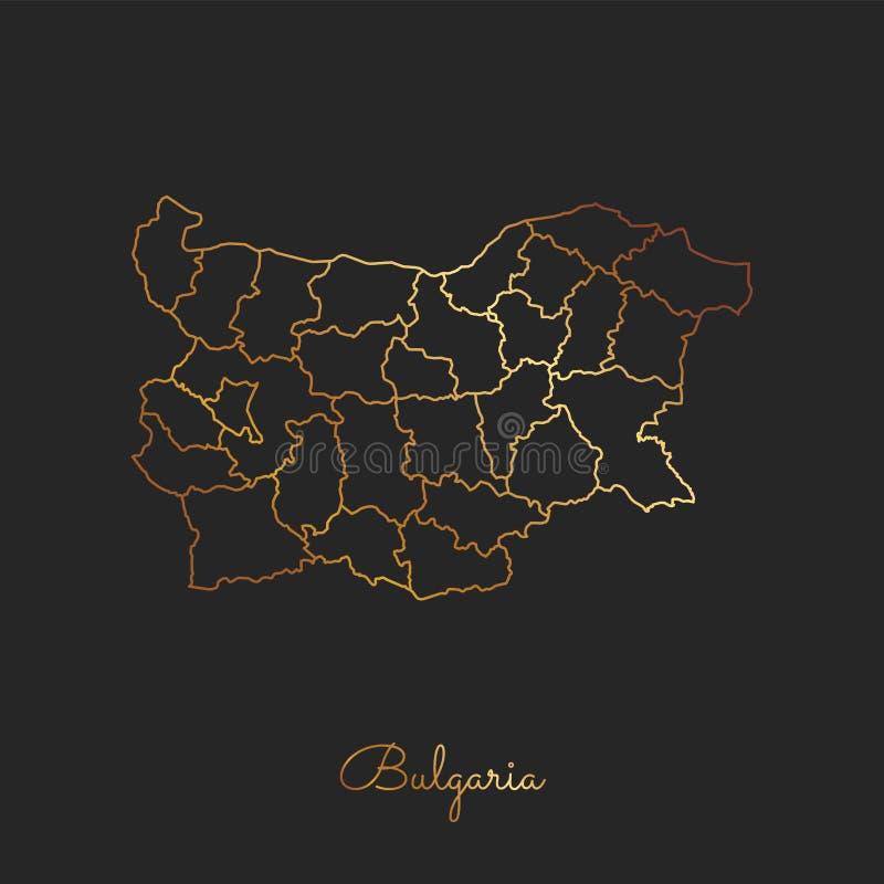 Bułgaria regionu mapa: złoty gradientowy kontur ilustracja wektor