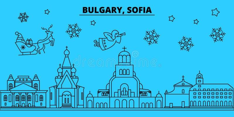 Bułgaria, Sofia zima wakacji linia horyzontu Wesoło boże narodzenia, Szczęśliwy nowy rok dekorowali sztandar z Święty Mikołaj Buł ilustracji