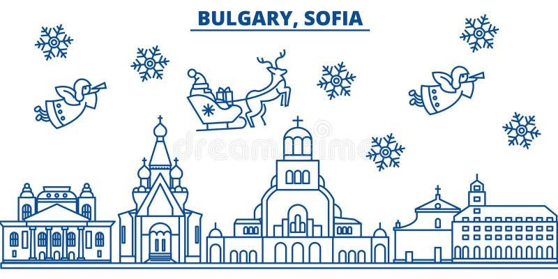 Bułgaria, Sofia zimy miasto linia horyzontu boże narodzenie nowy rok szczęśliwy wesoło ilustracji
