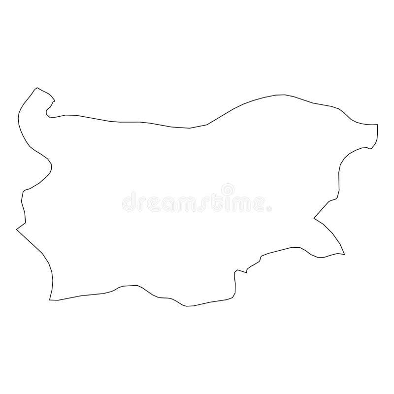 Bułgaria - stała czarna kontur granicy mapa kraju teren Prosta płaska wektorowa ilustracja ilustracja wektor
