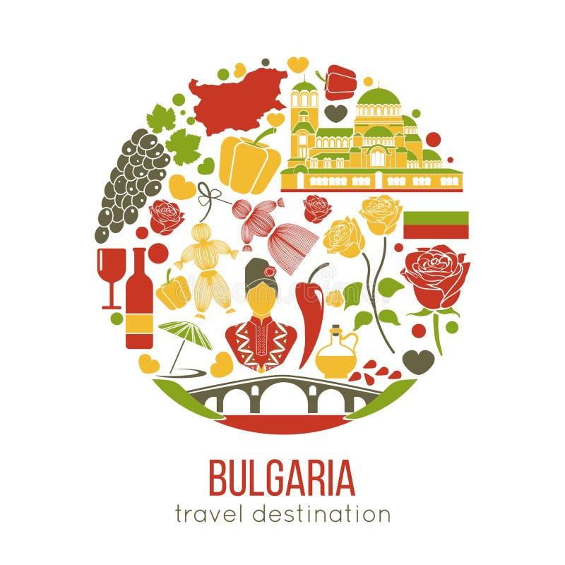Bułgaria tradycyjni symbole w okręgu odizolowywającym na bielu ilustracja wektor