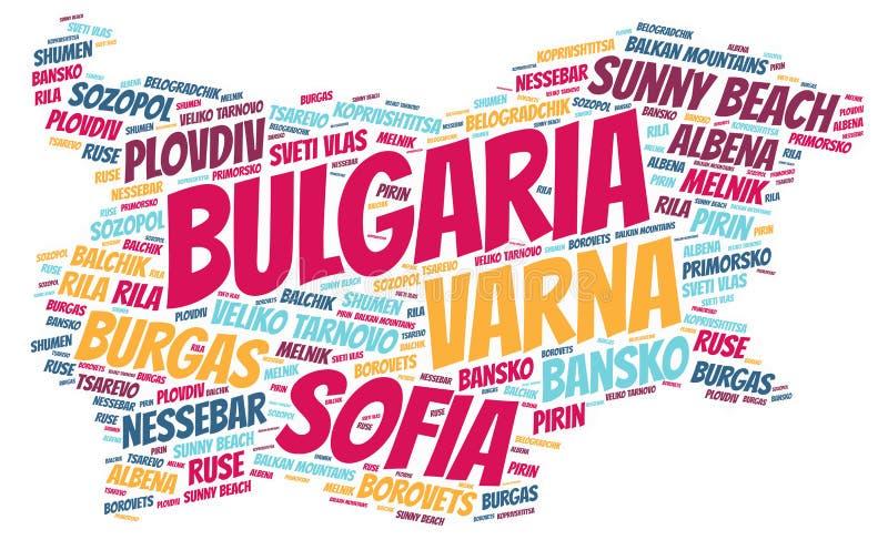 Bułgaria wierzchołka podróży miejsc przeznaczenia słowa chmura ilustracja wektor