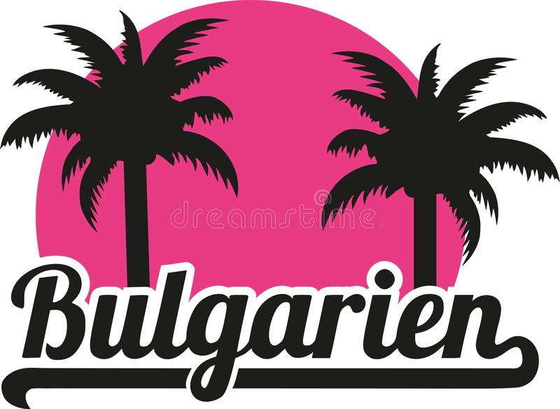 Bułgaria z palmami - niemiec ilustracja wektor