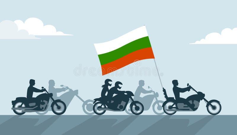 Bułgarscy rowerzyści na motocyklach z flaga państowowa ilustracji