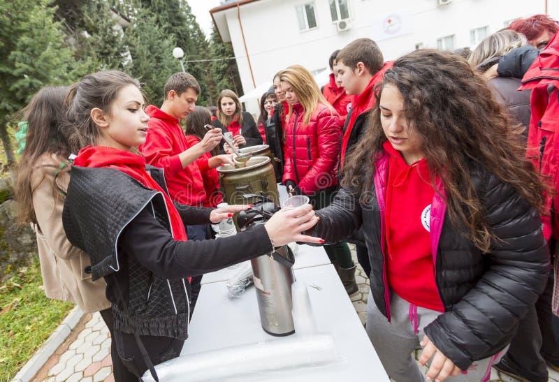 Bułgarska czerwony krzyż młodości ochotnicza organizacja (BRCY) fotografia royalty free