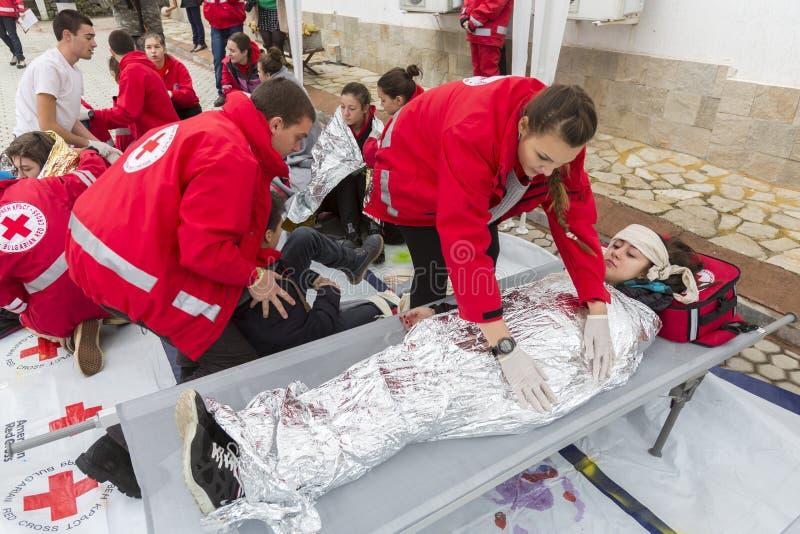Bułgarska czerwony krzyż młodości ochotnicza organizacja (BRCY) zdjęcia royalty free