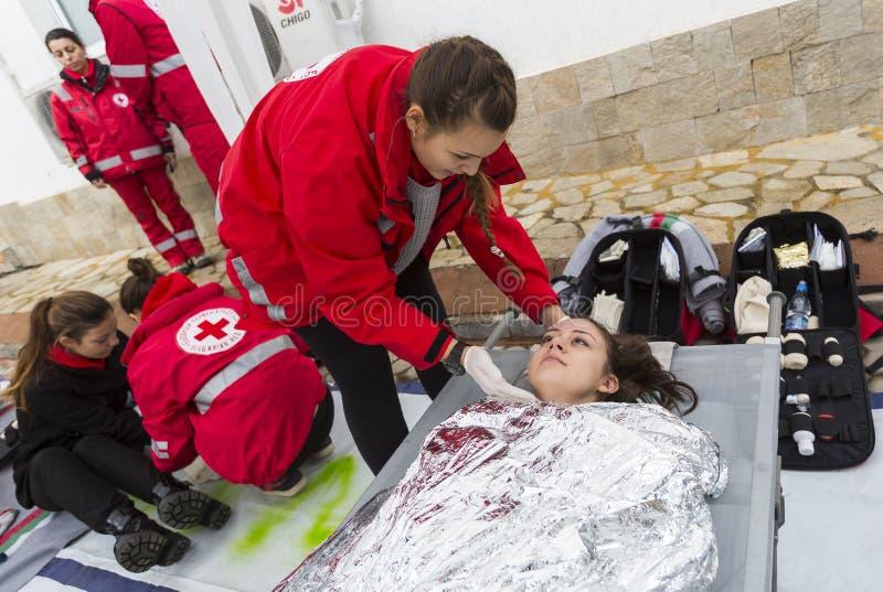 Bułgarska czerwony krzyż młodości ochotnicza organizacja (BRCY) fotografia stock