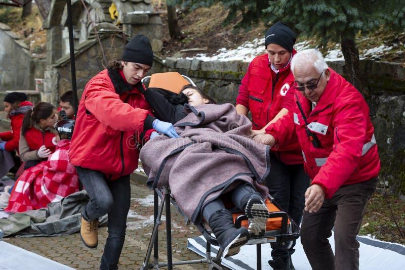 Bułgarski czerwony krzyż młodości sanitariuszów wolontariuszów blejtram zdjęcia stock