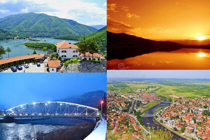 Bułgarski krajobrazowy Krichim Plovdiv grodzki gromadzki pocztówkowy kolaż zdjęcia stock