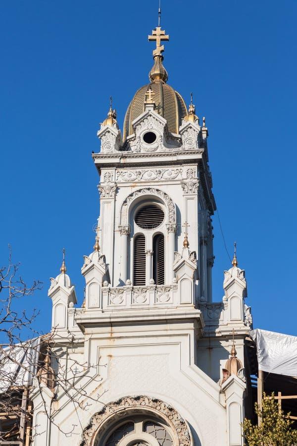 Bułgarski Ortodoksalny kościół bellfry w Istanbuł obrazy stock
