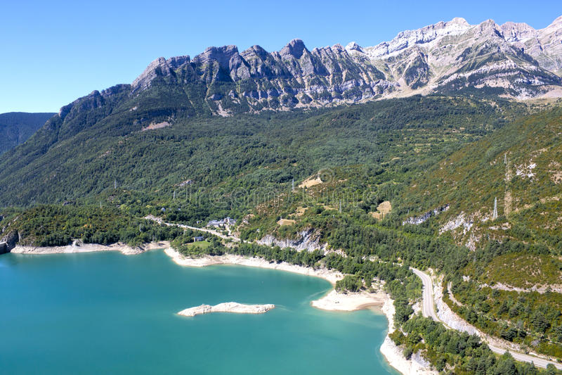 Bubal lake from the high of the mountains in Pyrenees royalty free stock images