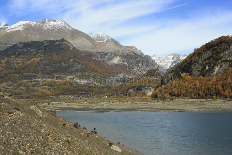 Bubal's lake, mountains in Tena valley, Pyrenees royalty free stock image