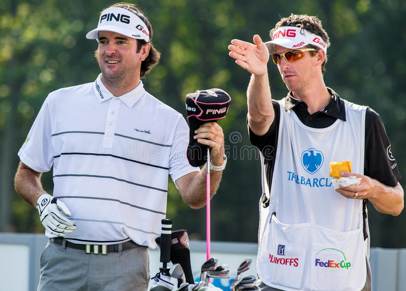 Bubba Watson at the 2012 Barclays. FARMINGDALE, NY - AUGUST 22: Bubba Watson prepares to hit a drive at Bethpage Black during the Barclays on August 22, 2012 in stock photo